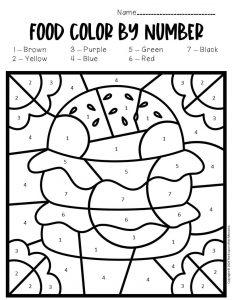 Color by Number Food Preschool Worksheets Burger