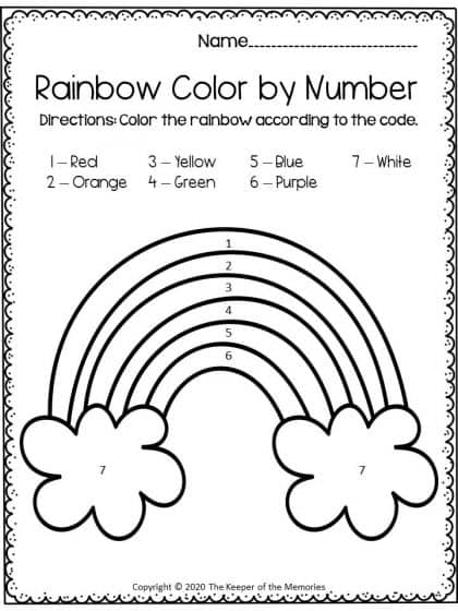 Color by Number Rainbow
