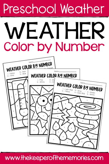 Color by Number Weather Worksheets for Preschoolers and Kindergartners with text: Preschool Weather Weather Color by Number