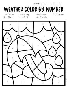 Color by Number Weather Preschool Worksheets Rainy