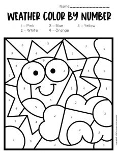 Color by Number Weather Preschool Worksheets Sunny