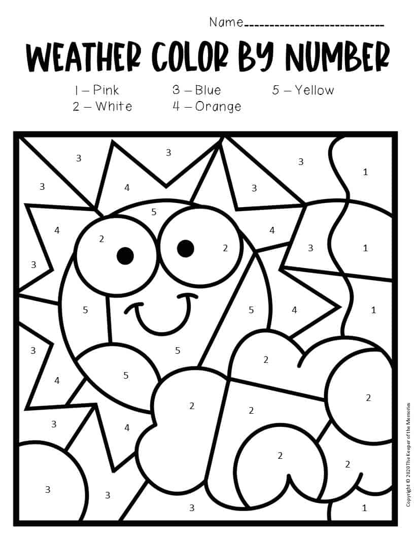 Color by Number Weather Preschool Worksheets Sunny - The ...