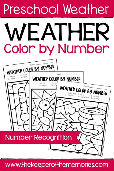 Color by Number Weather Worksheets for Preschoolers and Kindergartners with text: Preschool Weather Weather Color by Number Number Recognition