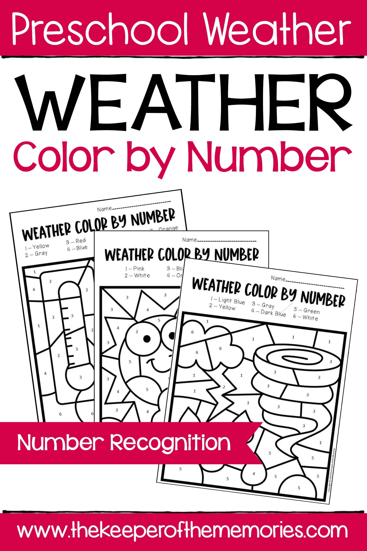 Color by Number Weather Preschool Worksheets