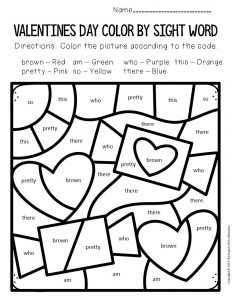 Color by Sight Word Valentine's Day Kindergarten Worksheets Candy