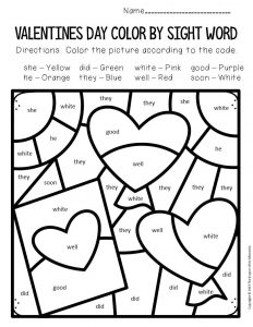 Color by Sight Word Valentine's Day Kindergarten Worksheets Card