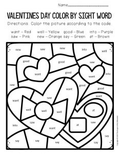 Color by Sight Word Valentine's Day Kindergarten Worksheets Chocolates