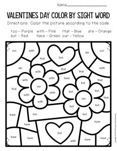 Color by Sight Word Valentine's Day Kindergarten Worksheets Flowers