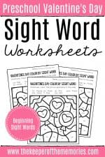 Color by Sight Word Valentine's Day Preschool Worksheets