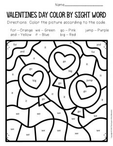 Color by Sight Word Valentine's Day Preschool Worksheets Balloons