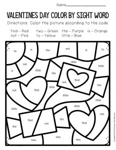 Color by Sight Word Valentine's Day Preschool Worksheets Candy