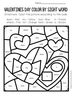 Color by Sight Word Valentine's Day Preschool Worksheets Chocolates
