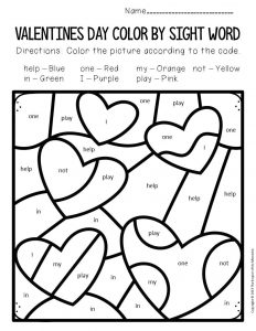 Color by Sight Word Valentine's Day Preschool Worksheets Hearts