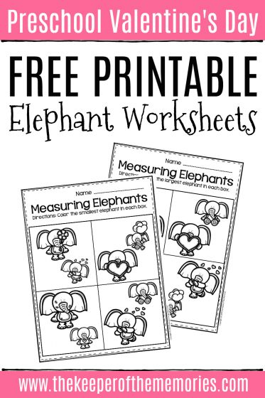 Valentine's Day Elephant Worksheets with text: Preschool Valentine's Day Free Printable Elephant Worksheets