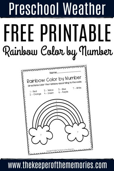 Free Printable Color by Number Rainbow Preschool Worksheets with text: Preschool Weather Free Printable Rainbow Color by Number