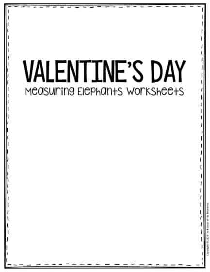 Free Printable Valentine's Day Elephants Preschool Worksheets