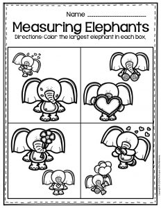Free Printable Valentine's Day Elephants Preschool Worksheets Largest
