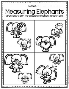 Free Printable Valentine's Day Elephants Preschool Worksheets Smallest