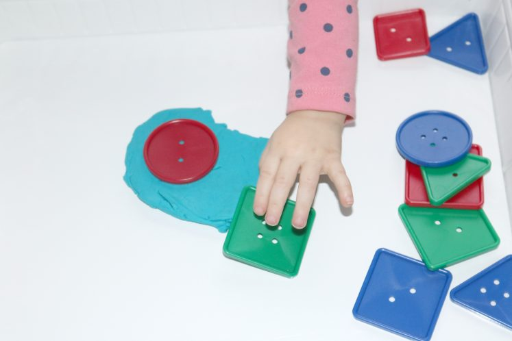 Playdough Buttons Toddler Sensory Tray 2