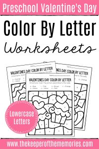 Color by Lowercase Letter Valentine's Day Preschool Worksheets