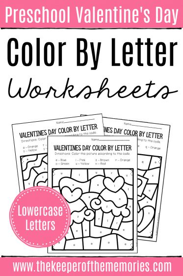 Preschool Color by Lowercase Letters Valentine's Day Preschool Worksheets