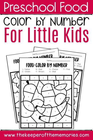 Preschool Food Color by Number