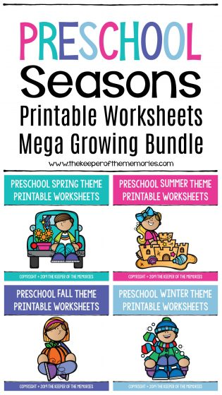 Printable Seasons Preschool Worksheets Bundle with text: Preschool Seasons Printable Worksheets Mega Growing Bundle