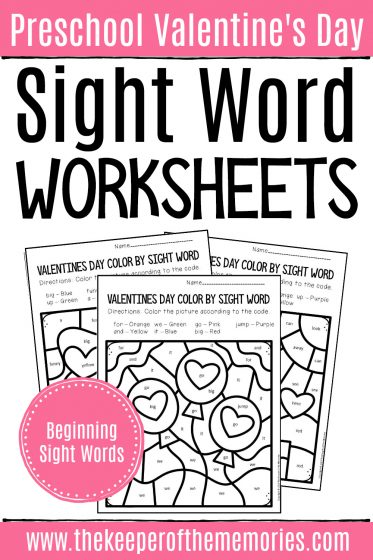 Color by Sight Word Valentine's Day Preschool Worksheets with text: Preschool Valentine's Day Sight Word Worksheets Beginning Sight Words