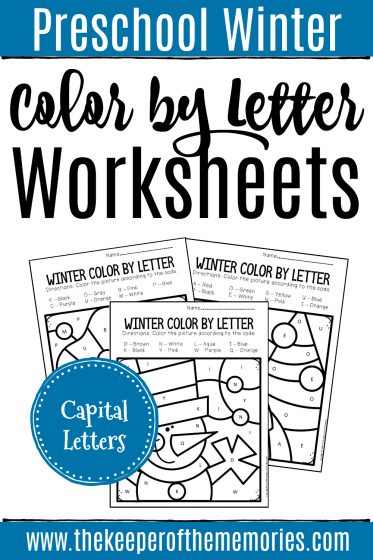 Color by Capital Letter Winter Preschool Worksheets with text: Preschool Winter Color by Letter Worksheets