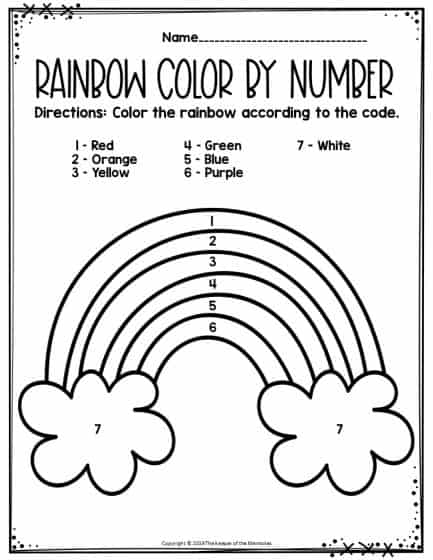 Rainbow Color by Number Preschool Worksheet