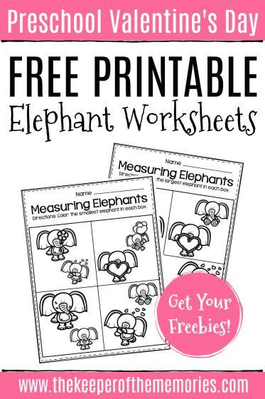 Valentine's Day Elephant Worksheets