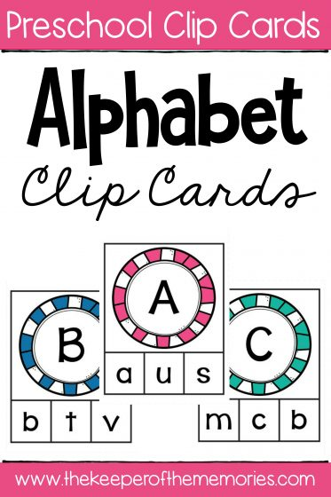 Alphabet Clip Cards Matching Capital Letters to Lowercase Letters with text: Preschool Clip Cards Alphabet Clip Cards