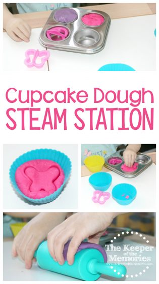 collage of preschool cupcake STEAM images with text: Cupcake Dough STEAM Station