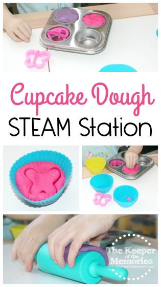 collage of cupcake STEAM station images with text: Cupcake Dough STEAM Station