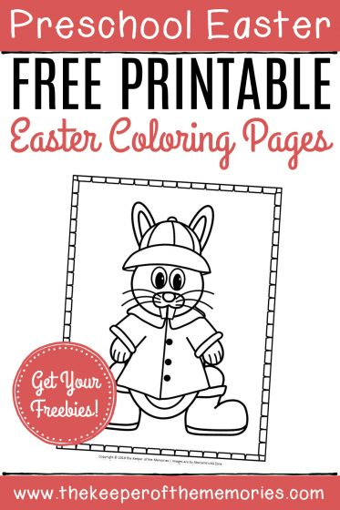 Free Printable Easter Bunny Color Pages with text: Preschool Easter Free Printable Easter Coloring Pages Get Your Freebies!
