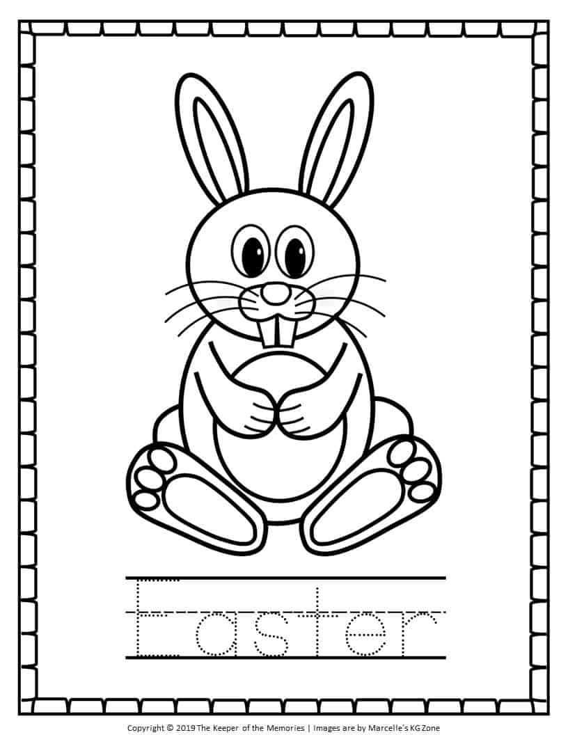 Easter Bunny Coloring Pages Tracing - The Keeper of the ...