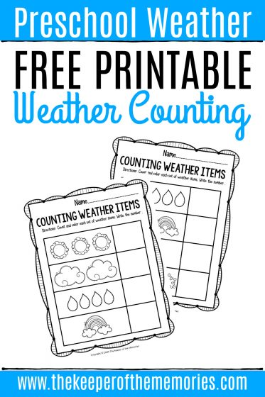 Free Printable Counting Weather Preschool Worksheets with text: Preschool Weather Free Printable Weather Counting