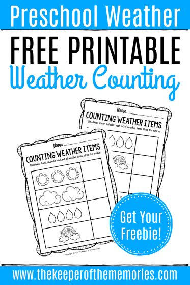 Free Printable Counting Weather Preschool Worksheets with text: Preschool Weather Free Printable Weather Counting Get Your Freebies!