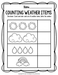 Free Printable Counting Weather Preschool Worksheets