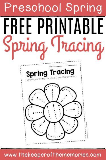Free Printable Tracing Spring Preschool Worksheets with text: Preschool Spring Free Printable Spring Tracing