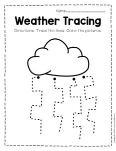 Free Printable Storm Clouds Tracing Weather Preschool Worksheets 10