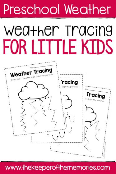 Free Printable Weather Tracing with text: Preschool Weather Free Printable Weather Tracing for Little Kids