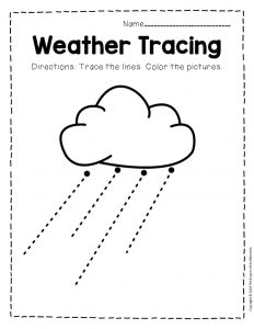 Free Printable Storm Clouds Tracing Weather Preschool Worksheets 2