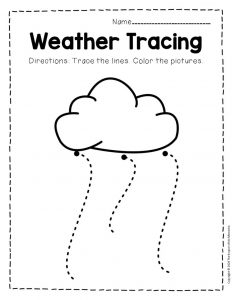 Free Printable Storm Clouds Tracing Weather Preschool Worksheets 3