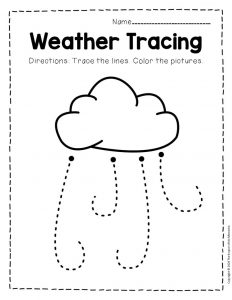 Free Printable Storm Clouds Tracing Weather Preschool Worksheets 4