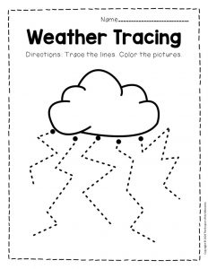 Free Printable Storm Clouds Tracing Weather Preschool Worksheets 7