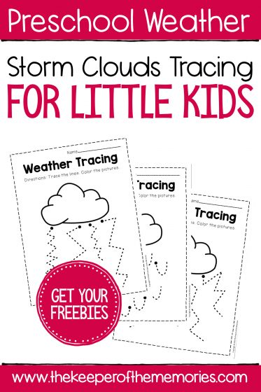 Free Printable Weather Tracing with text: Preschool Weather Free Printable Weather Tracing Get Your Freebies!