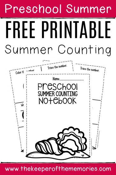 Numbers Summer Preschool Worksheets with text: Preschool Summer Free Printable Summer Counting