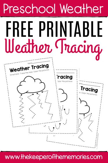 Free Printable Weather Tracing with text: Preschool Weather Free Printable Weather Tracing