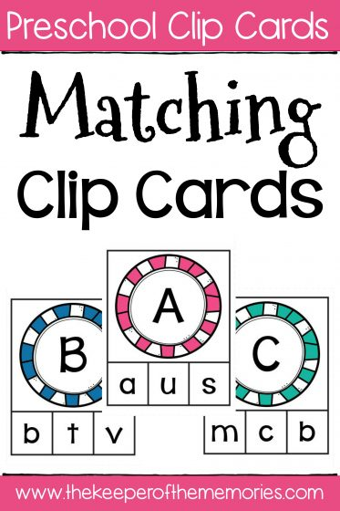 Matching Clip Cards with text: Preschool Clip Cards Matching Clip Cards